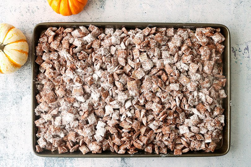chocolate chex cereal with powdered sugar