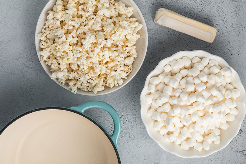 butter popcorn and marshmallows
